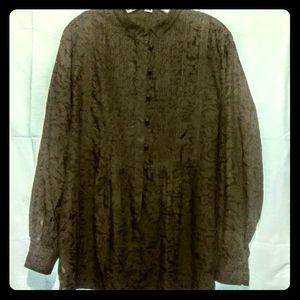 Coldwater Creek brown tuxedo bib lacy blouse